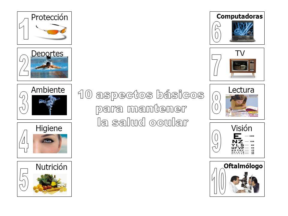 Protección Deportes Ambiente Higiene Nutrición Computadoras TV Lectura Visión Oftalmólogo