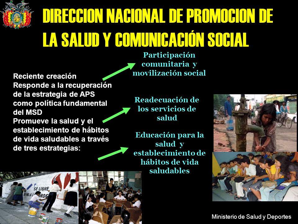 Ministerio de Salud y Deportes DIRECCION NACIONAL DE PROMOCION DE LA SALUD Y COMUNICACIÓN SOCIAL Educación para la salud y establecimiento de hábitos