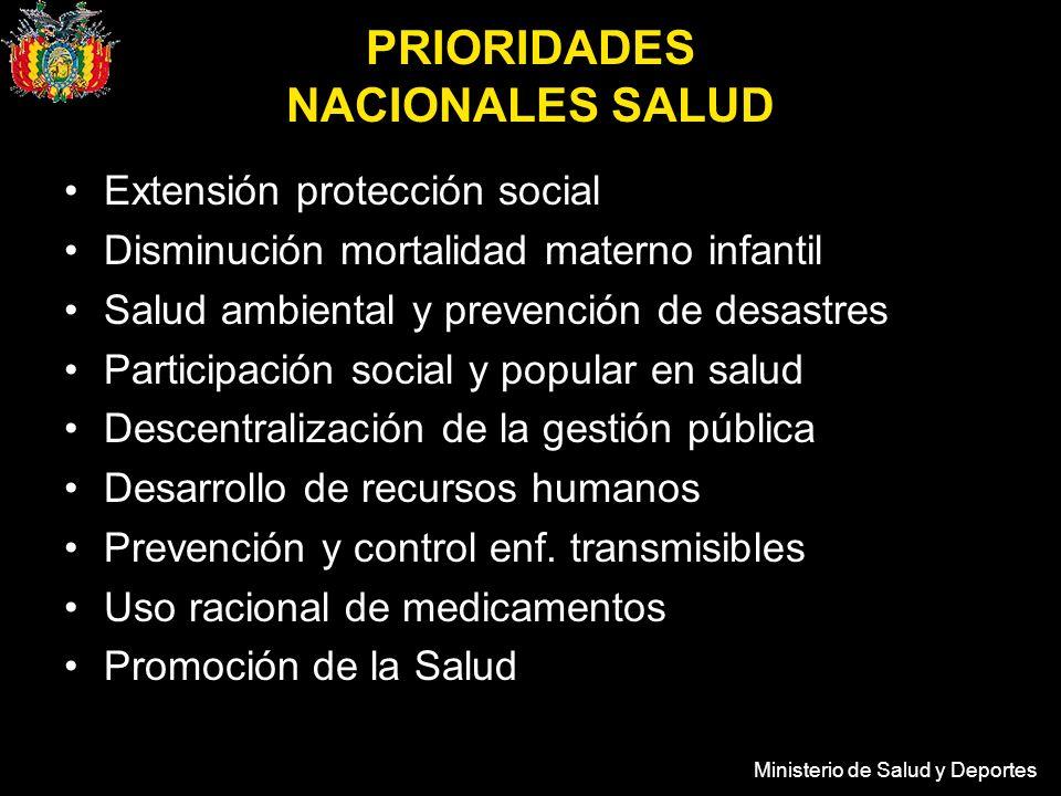 Ministerio de Salud y Deportes PRIORIDADES NACIONALES SALUD Extensión protección social Disminución mortalidad materno infantil Salud ambiental y prev