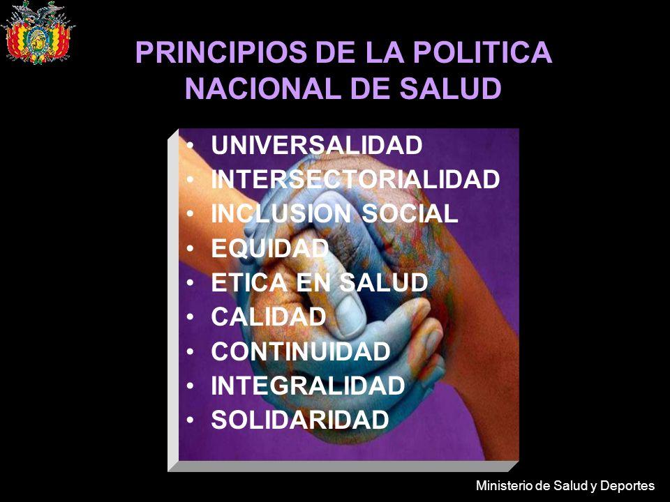 Ministerio de Salud y Deportes PRINCIPIOS DE LA POLITICA NACIONAL DE SALUD UNIVERSALIDAD INTERSECTORIALIDAD INCLUSION SOCIAL EQUIDAD ETICA EN SALUD CALIDAD CONTINUIDAD INTEGRALIDAD SOLIDARIDAD