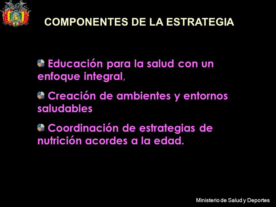 Ministerio de Salud y Deportes COMPONENTES DE LA ESTRATEGIA Educación para la salud con un enfoque integral, Creación de ambientes y entornos saludables Coordinación de estrategias de nutrición acordes a la edad.