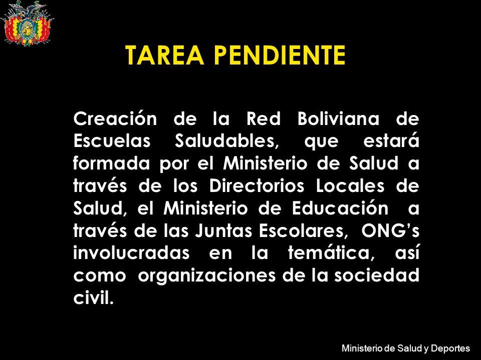 Ministerio de Salud y Deportes Creación de la Red Boliviana de Escuelas Saludables, que estará formada por el Ministerio de Salud a través de los Directorios Locales de Salud, el Ministerio de Educación a través de las Juntas Escolares, ONGs involucradas en la temática, así como organizaciones de la sociedad civil.