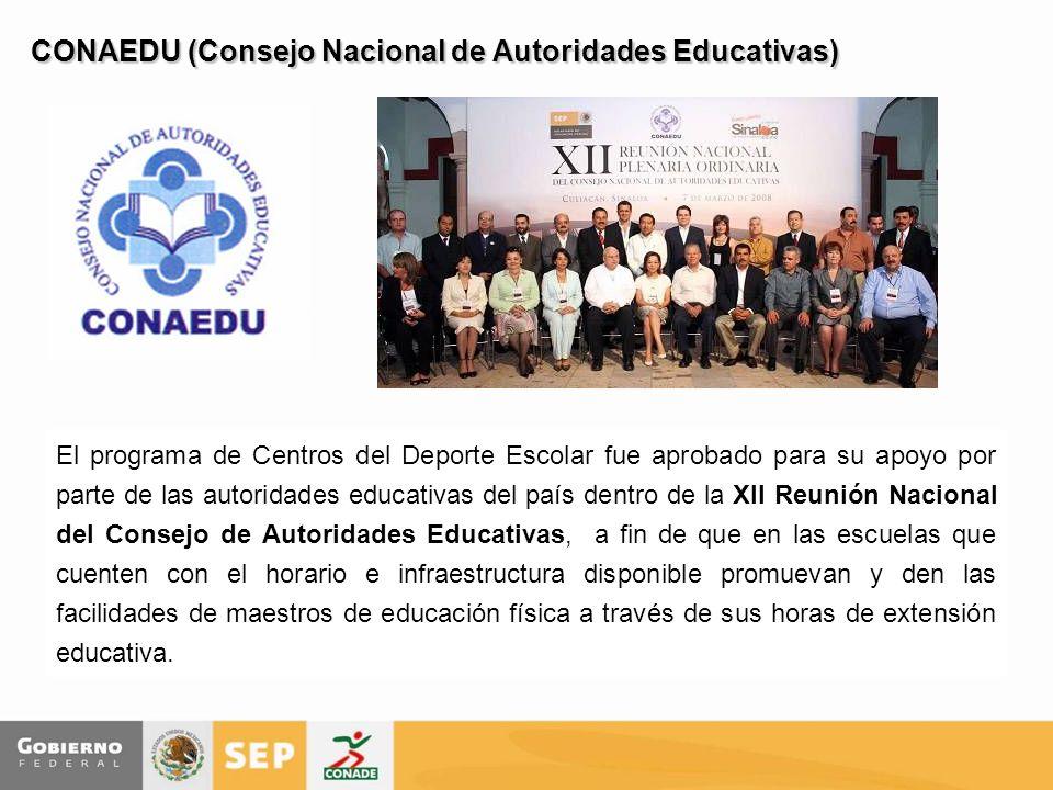 CONAEDU (Consejo Nacional de Autoridades Educativas) El programa de Centros del Deporte Escolar fue aprobado para su apoyo por parte de las autoridade