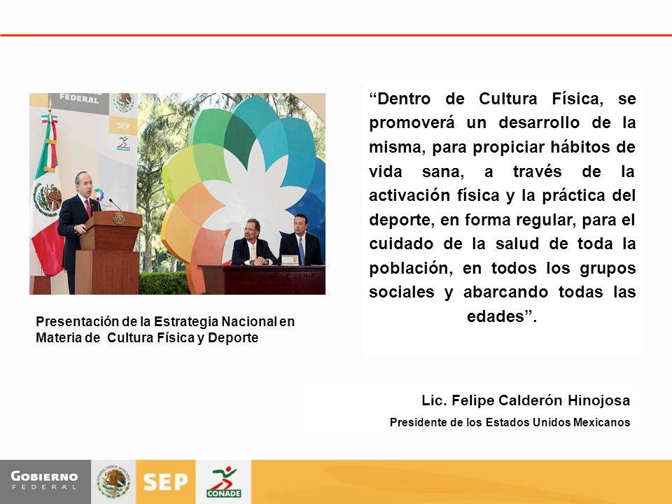 Lic. Felipe Calderón Hinojosa Presidente de los Estados Unidos Mexicanos Dentro de Cultura Física, se promoverá un desarrollo de la misma, para propic