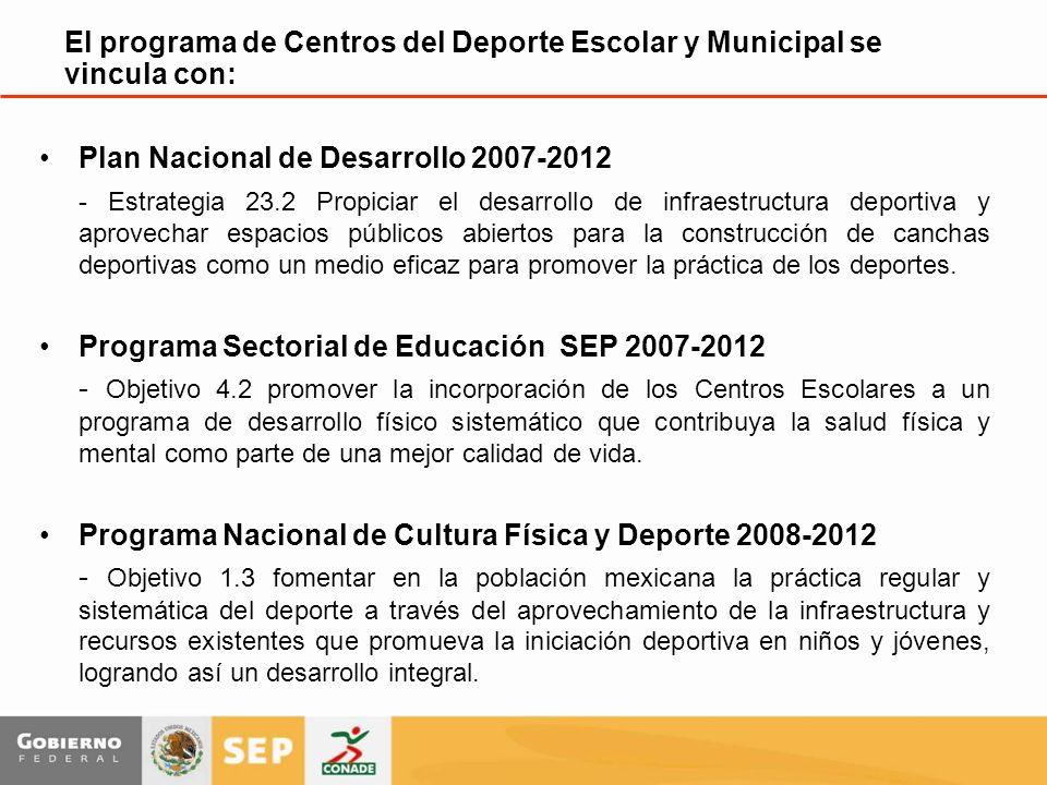 Plan Nacional de Desarrollo 2007-2012 - Estrategia 23.2 Propiciar el desarrollo de infraestructura deportiva y aprovechar espacios públicos abiertos para la construcción de canchas deportivas como un medio eficaz para promover la práctica de los deportes.