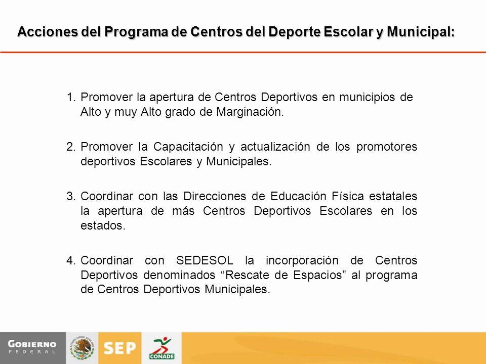 Acciones del Programa de Centros del Deporte Escolar y Municipal: 1.Promover la apertura de Centros Deportivos en municipios de Alto y muy Alto grado de Marginación.