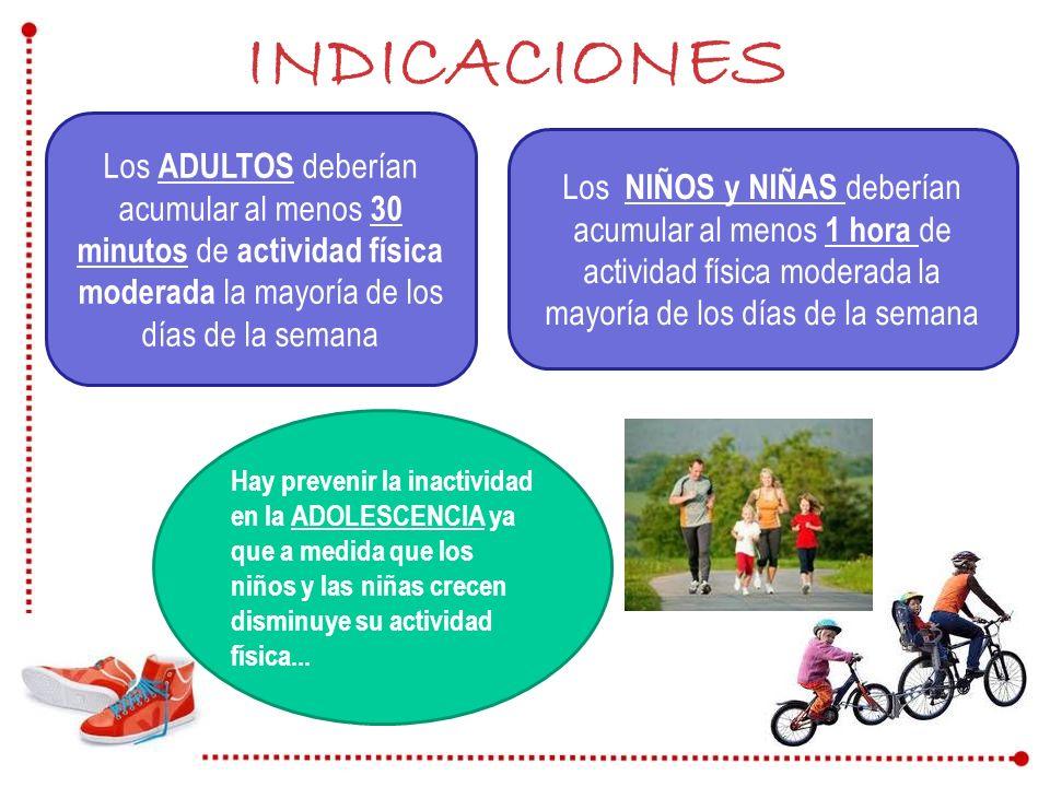 INDICACIONES Los ADULTOS deberían acumular al menos 30 minutos de actividad física moderada la mayoría de los días de la semana Los NIÑOS y NIÑAS debe
