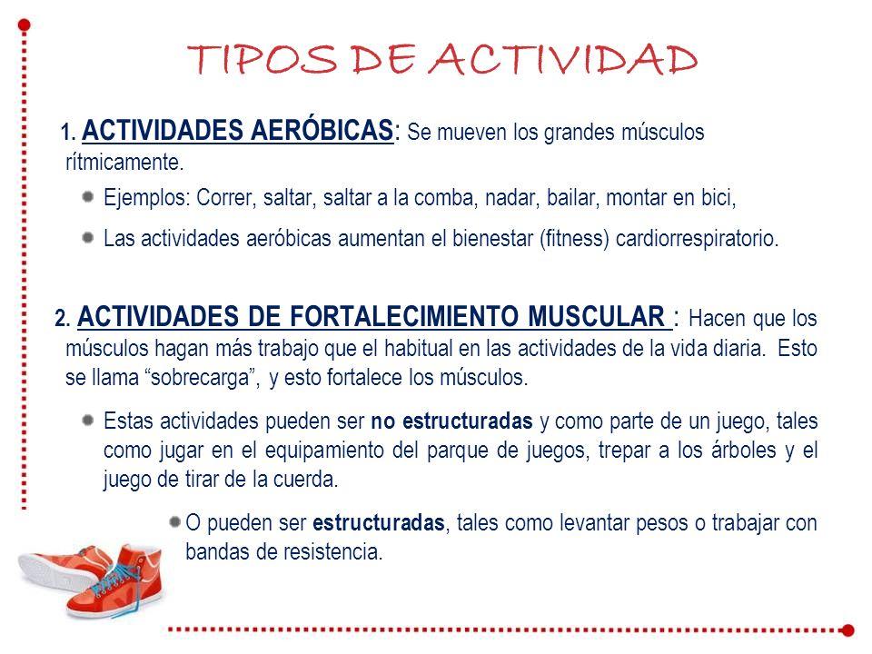 TIPOS DE ACTIVIDAD 1. ACTIVIDADES AERÓBICAS : Se mueven los grandes músculos rítmicamente. Ejemplos: Correr, saltar, saltar a la comba, nadar, bailar,