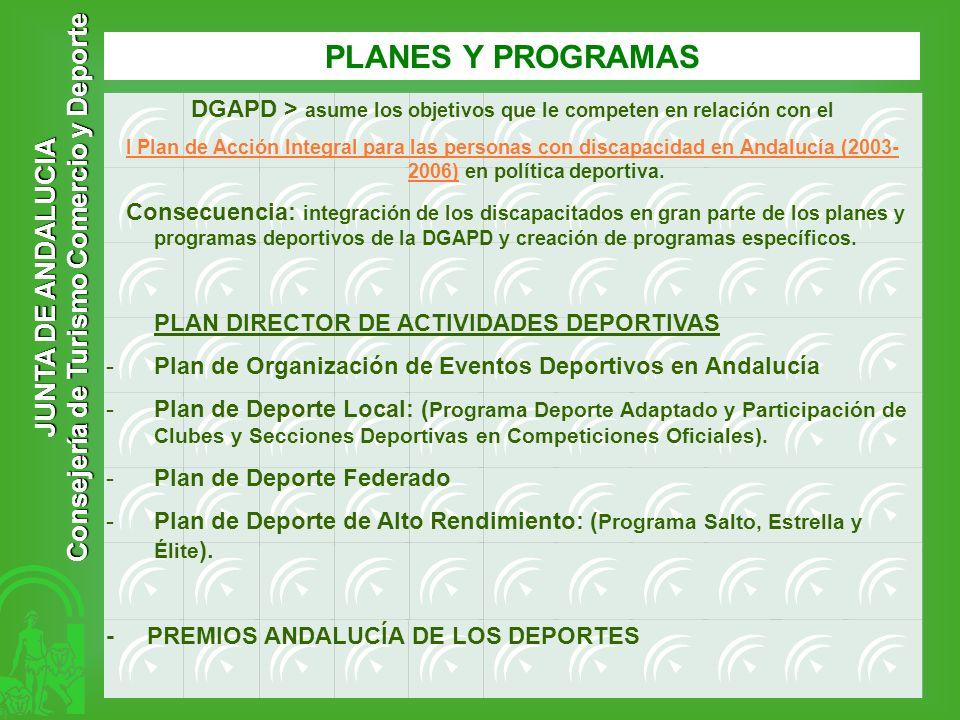 JUNTA DE ANDALUCIA Consejería de Turismo Comercio y Deporte PLANES Y PROGRAMAS DGAPD > asume los objetivos que le competen en relación con el I Plan d