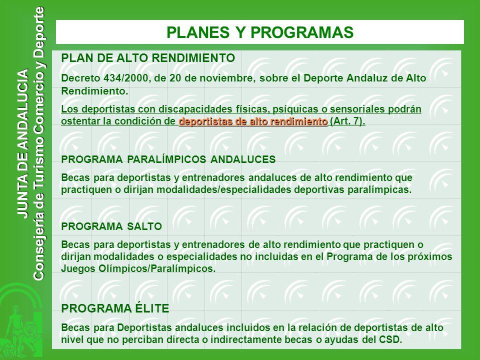 JUNTA DE ANDALUCIA Consejería de Turismo Comercio y Deporte PLANES Y PROGRAMAS PLAN DE ALTO RENDIMIENTO Decreto 434/2000, de 20 de noviembre, sobre el