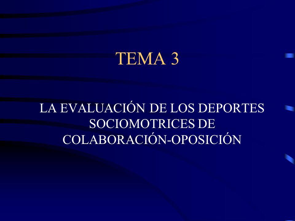 TEMA 3 LA EVALUACIÓN DE LOS DEPORTES SOCIOMOTRICES DE COLABORACIÓN-OPOSICIÓN