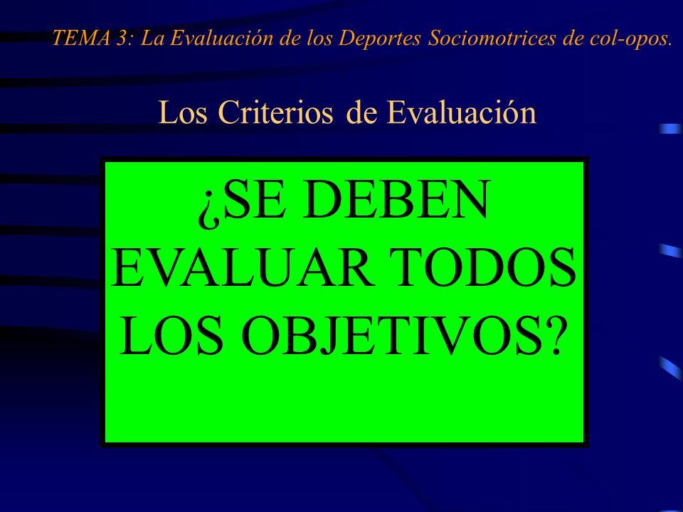 Los Criterios de Evaluación OBJETIVOS análisis y concreción criterios de evaluación ¿SE DEBEN EVALUAR TODOS LOS OBJETIVOS? TEMA 3: La Evaluación de lo