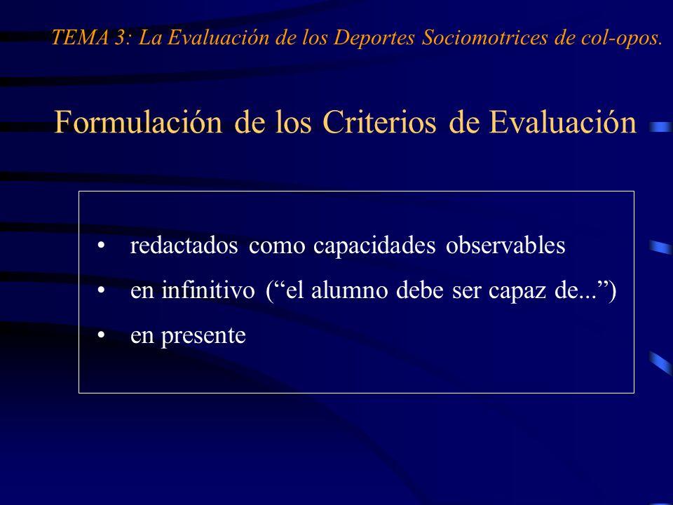 Formulación de los Criterios de Evaluación redactados como capacidades observables en infinitivo (el alumno debe ser capaz de...) en presente TEMA 3: