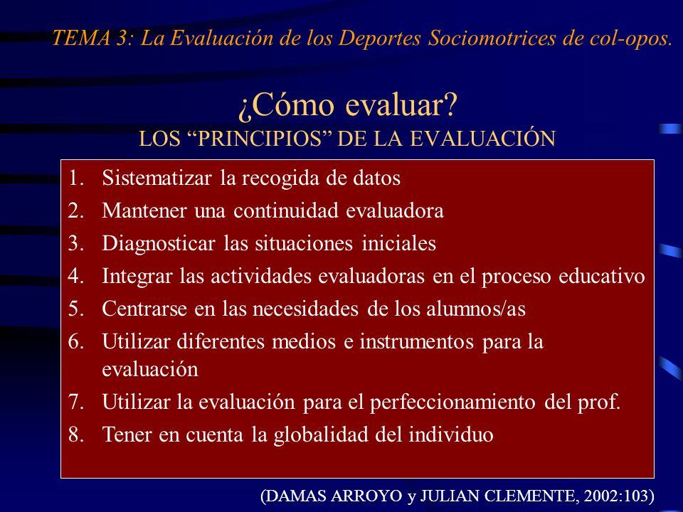 ¿Cómo evaluar? LOS PRINCIPIOS DE LA EVALUACIÓN 1.Sistematizar la recogida de datos 2.Mantener una continuidad evaluadora 3.Diagnosticar las situacione