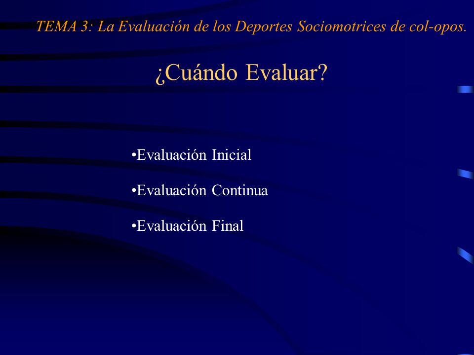 ¿Cuándo Evaluar? Evaluación Inicial Evaluación Continua Evaluación Final TEMA 3: La Evaluación de los Deportes Sociomotrices de col-opos.