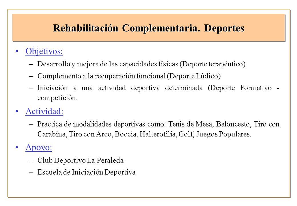 Objetivos: –Desarrollo y mejora de las capacidades físicas (Deporte terapéutico) –Complemento a la recuperación funcional (Deporte Lúdico) –Iniciación