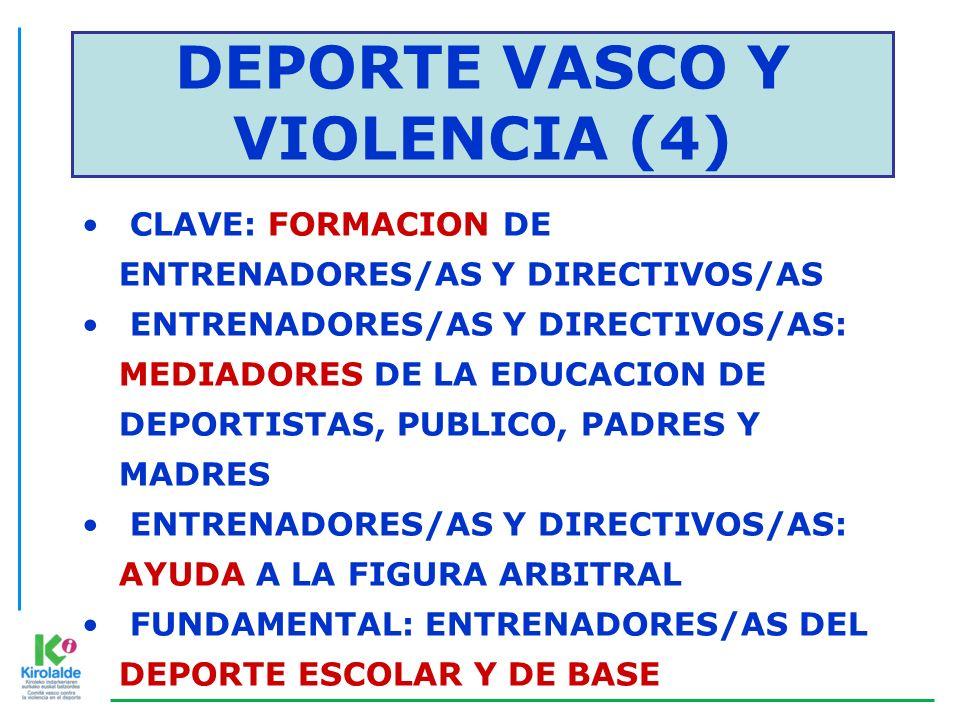DEPORTE VASCO Y VIOLENCIA (4) CLAVE: FORMACION DE ENTRENADORES/AS Y DIRECTIVOS/AS ENTRENADORES/AS Y DIRECTIVOS/AS: MEDIADORES DE LA EDUCACION DE DEPOR