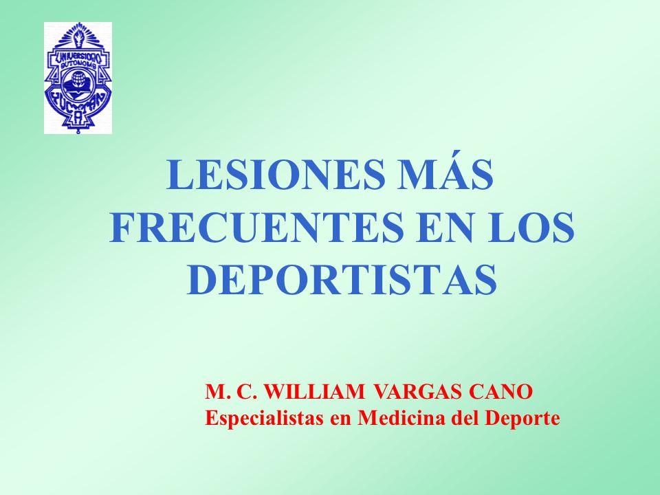 PRINCIPALES CAUSAS DE LESIONES CALENTAMIENTO INADECUADO EN TIEMPO Y TÉCNICA FATIGA MUSCULAR O SOBREENTRENAMIENTO ALIMENTACIÓN INADECUADA ( ELECTROLITOS Y GLUCOSA) INSTALACIONES INADECUADAS EQUIPO DEPORTIVO INADECUADO PREPARACIÓN FÍSICA INADECUADA COMPORTAMIENTO ANTIDEPORTIVO MALA TÉCNICA PROBLEMAS ORTOPÉDICOS SOBREUSO Y CRECIMIENTO