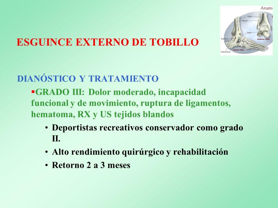 ESGUINCE EXTERNO DE TOBILLO DIANÓSTICO Y TRATAMIENTO GRADO III: Dolor moderado, incapacidad funcional y de movimiento, ruptura de ligamentos, hematoma