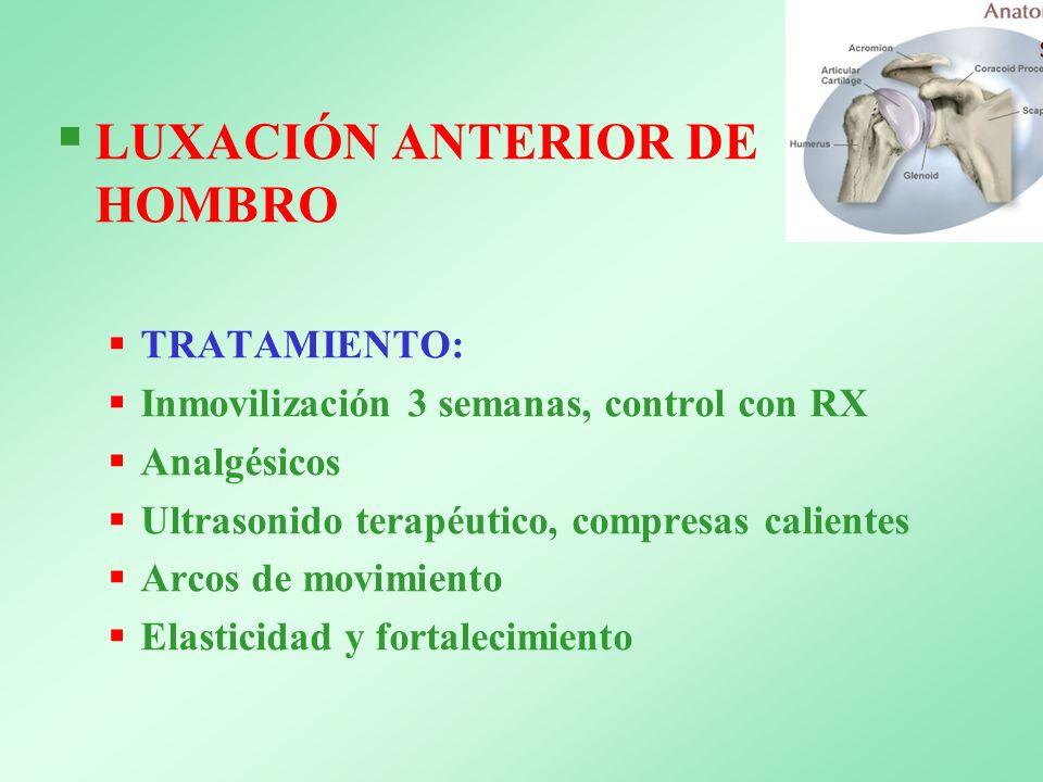 LUXACIÓN ANTERIOR DE HOMBRO TRATAMIENTO: Inmovilización 3 semanas, control con RX Analgésicos Ultrasonido terapéutico, compresas calientes Arcos de mo