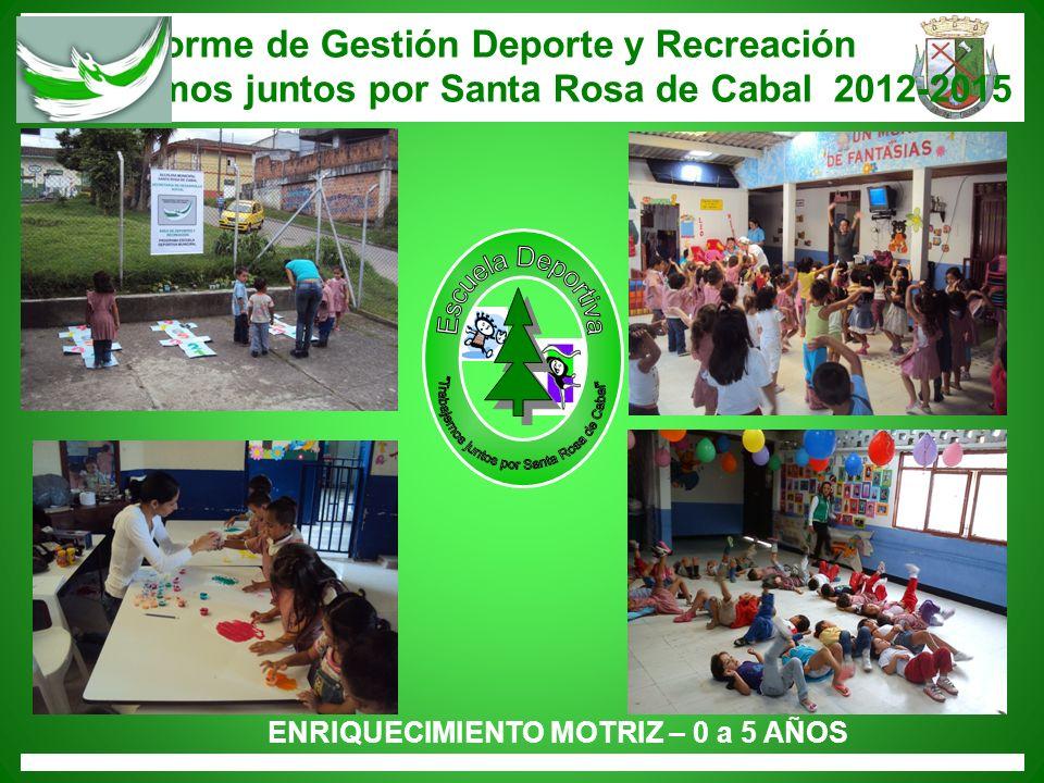 Informe de Gestión Deporte y Recreación Trabajemos juntos por Santa Rosa de Cabal 2012-2015 ENRIQUECIMIENTO MOTRIZ – 0 a 5 AÑOS