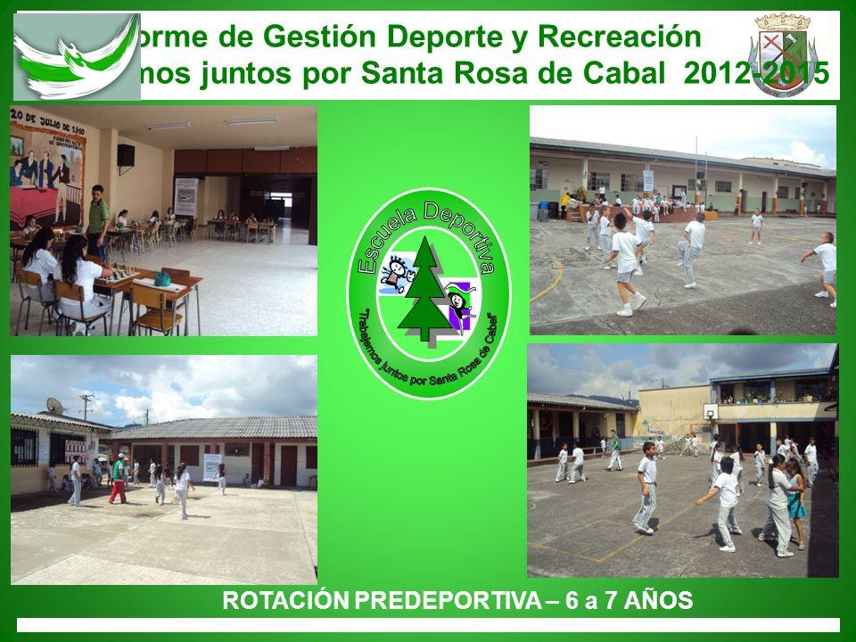 Informe de Gestión Deporte y Recreación Trabajemos juntos por Santa Rosa de Cabal 2012-2015 ROTACIÓN PREDEPORTIVA – 6 a 7 AÑOS
