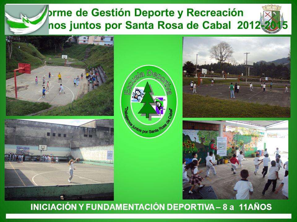 Informe de Gestión Deporte y Recreación Trabajemos juntos por Santa Rosa de Cabal 2012-2015 INICIACIÓN Y FUNDAMENTACIÓN DEPORTIVA – 8 a 11AÑOS