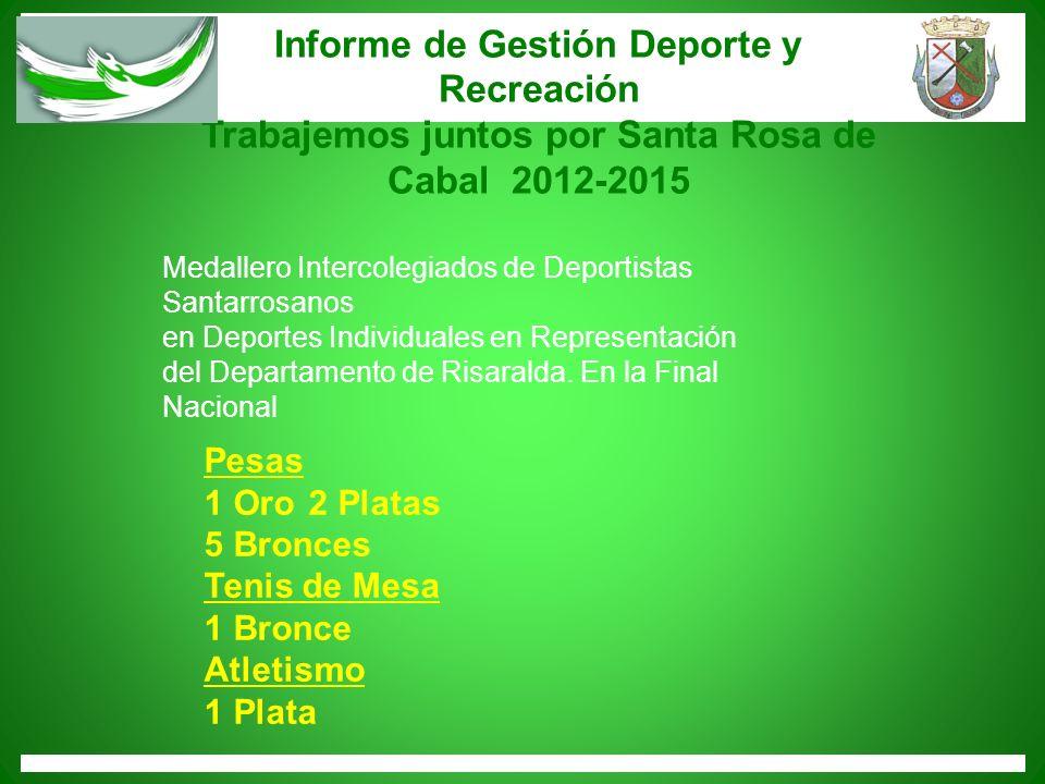 Informe de Gestión Deporte y Recreación Trabajemos juntos por Santa Rosa de Cabal 2012-2015 Pesas 1 Oro 2 Platas 5 Bronces Tenis de Mesa 1 Bronce Atle