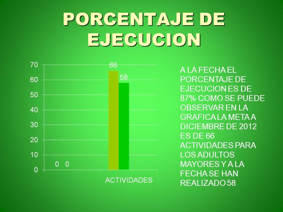 PORCENTAJE DE EJECUCION A LA FECHA EL PORCENTAJE DE EJECUCION ES DE 87% COMO SE PUEDE OBSERVAR EN LA GRAFICA LA META A DICIEMBRE DE 2012 ES DE 66 ACTI