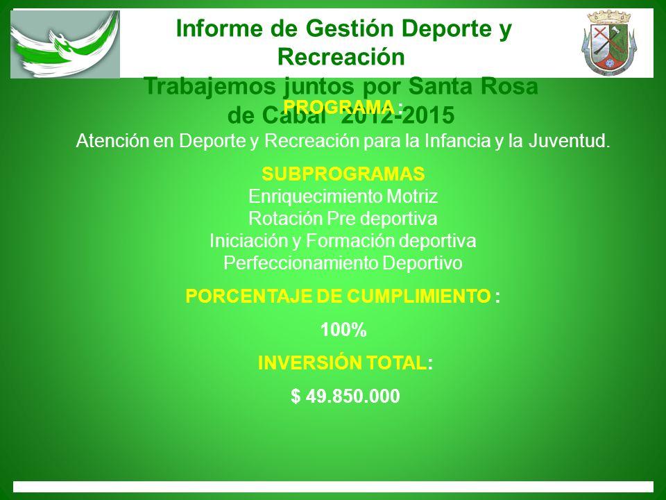 Informe de Gestión Deporte y Recreación Trabajemos juntos por Santa Rosa de Cabal 2012-2015 PROGRAMA : Atención en Deporte y Recreación para la Infanc