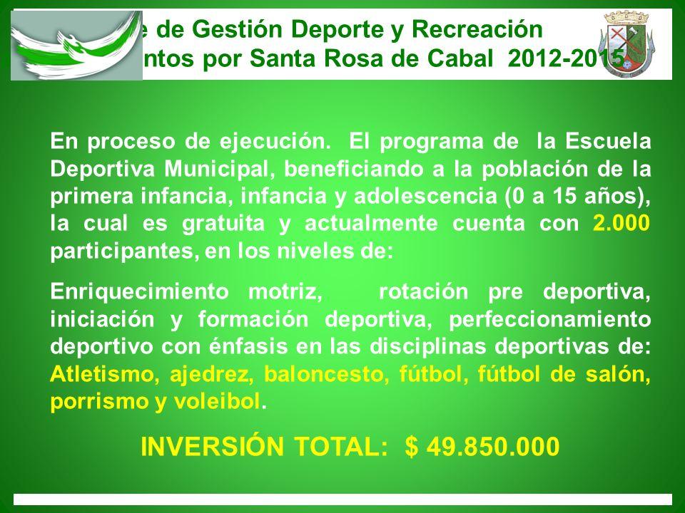 Informe de Gestión Deporte y Recreación Trabajemos juntos por Santa Rosa de Cabal 2012-2015 En proceso de ejecución. El programa de la Escuela Deporti