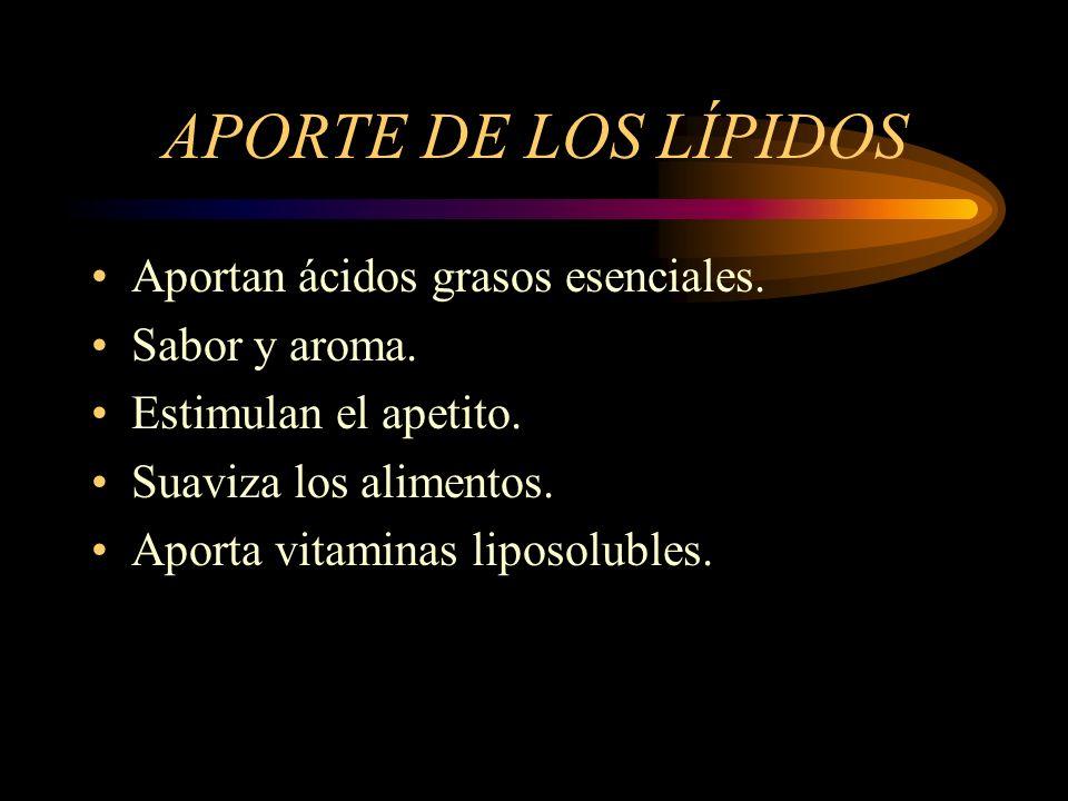 APORTE DE LOS LÍPIDOS Aportan ácidos grasos esenciales. Sabor y aroma. Estimulan el apetito. Suaviza los alimentos. Aporta vitaminas liposolubles.