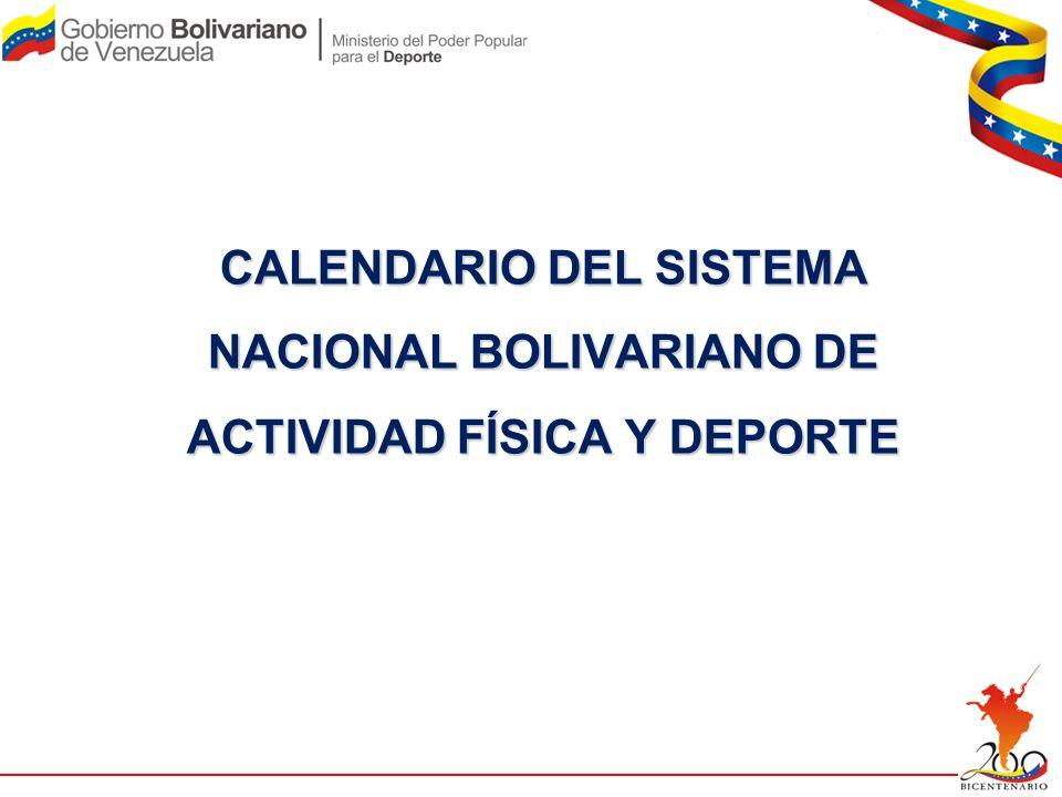 CALENDARIO DEL SISTEMA NACIONAL BOLIVARIANO DE ACTIVIDAD FÍSICA Y DEPORTE