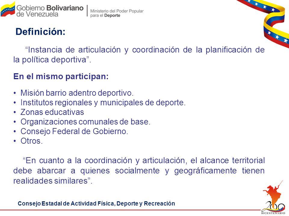 Consejo Estadal de Actividad Física, Deporte y Recreación Instancia de articulación y coordinación de la planificación de la política deportiva. En el