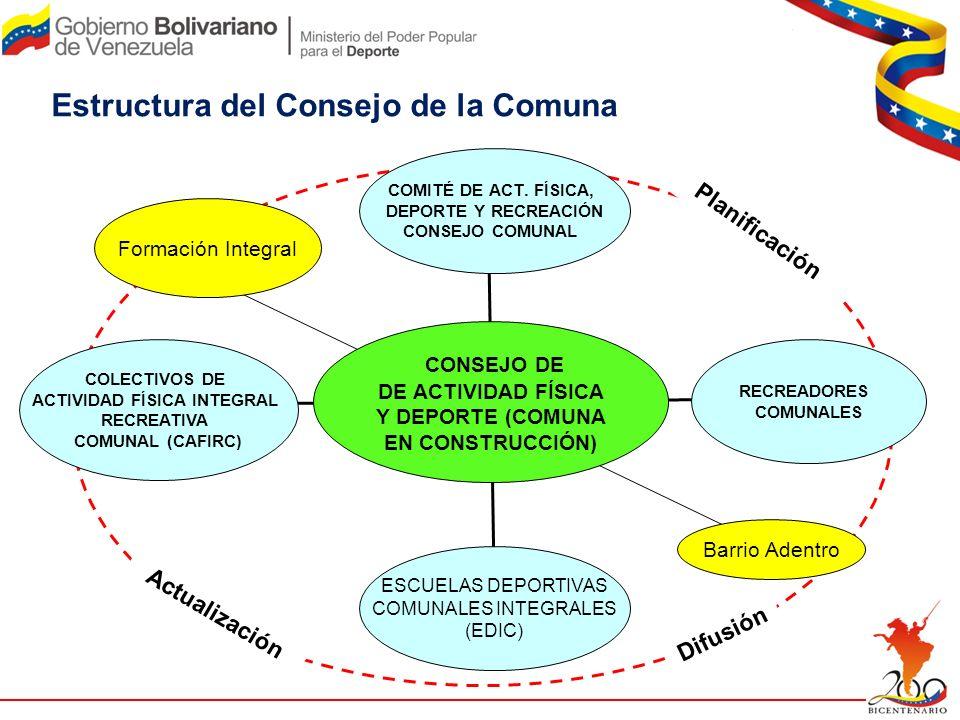 Estructura del Consejo de la Comuna CONSEJO DE DE ACTIVIDAD FÍSICA Y DEPORTE (COMUNA EN CONSTRUCCIÓN) RECREADORES COMUNALES Formación Integral COLECTI