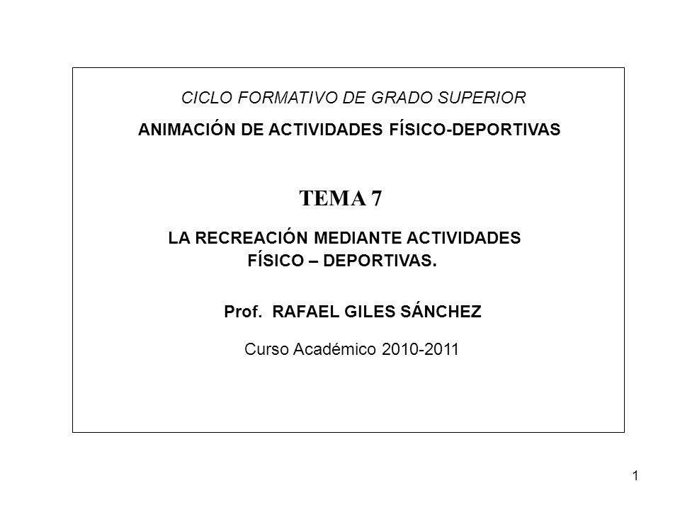 1 CICLO FORMATIVO DE GRADO SUPERIOR ANIMACIÓN DE ACTIVIDADES FÍSICO-DEPORTIVAS LA RECREACIÓN MEDIANTE ACTIVIDADES FÍSICO – DEPORTIVAS. TEMA 7 Prof. RA