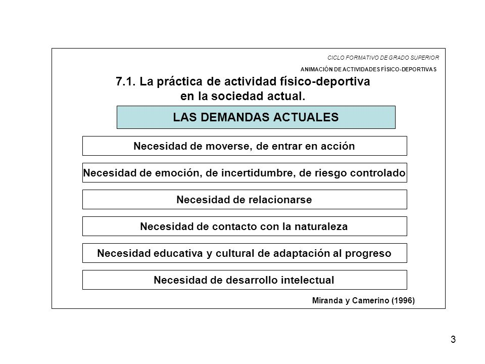 3 CICLO FORMATIVO DE GRADO SUPERIOR ANIMACIÓN DE ACTIVIDADES FÍSICO-DEPORTIVAS 7.1. La práctica de actividad físico-deportiva en la sociedad actual. L