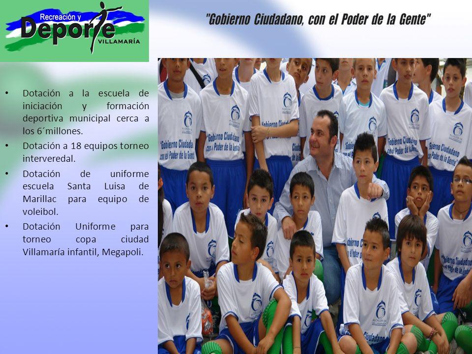 Dotación a la escuela de iniciación y formación deportiva municipal cerca a los 6´millones.