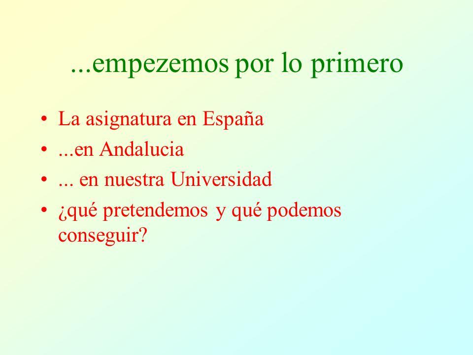 ...empezemos por lo primero La asignatura en España...en Andalucia...