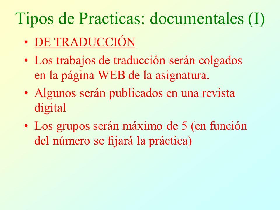 Tipos de Practicas: documentales (II) DE RESUMENES y BASES DE DATOS Los trabajos serán colgados en la página WEB de la asignatura.