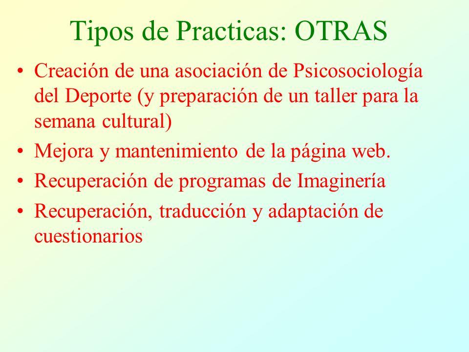 Tipos de Practicas: OTRAS Creación de una asociación de Psicosociología del Deporte (y preparación de un taller para la semana cultural) Mejora y mantenimiento de la página web.