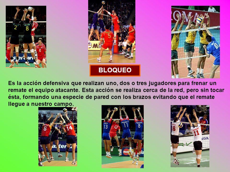 BLOQUEO Es la acción defensiva que realizan uno, dos o tres jugadores para frenar un remate el equipo atacante.