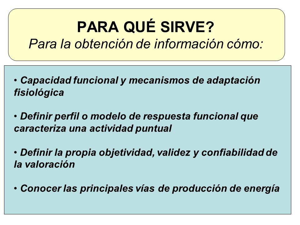 PARA QUÉ SIRVE? Para la obtención de información cómo: Capacidad funcional y mecanismos de adaptación fisiológica Definir perfil o modelo de respuesta
