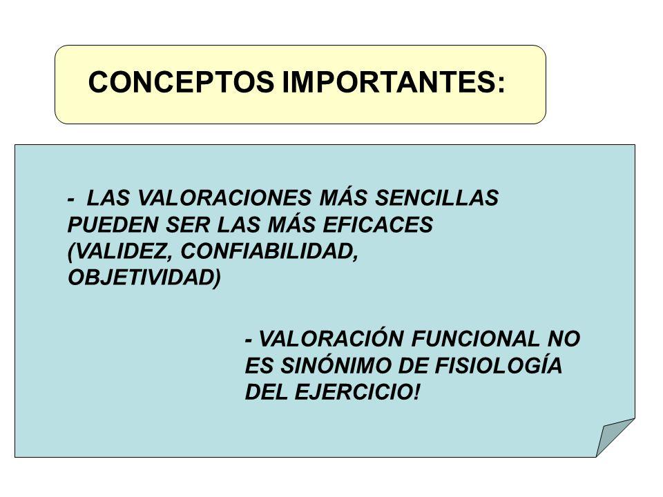 CONCEPTOS IMPORTANTES: - LAS VALORACIONES MÁS SENCILLAS PUEDEN SER LAS MÁS EFICACES (VALIDEZ, CONFIABILIDAD, OBJETIVIDAD) - VALORACIÓN FUNCIONAL NO ES