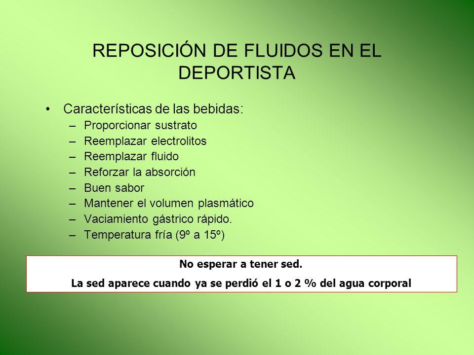 REPOSICIÓN DE FLUIDOS EN EL DEPORTISTA Características de las bebidas: –Proporcionar sustrato –Reemplazar electrolitos –Reemplazar fluido –Reforzar la