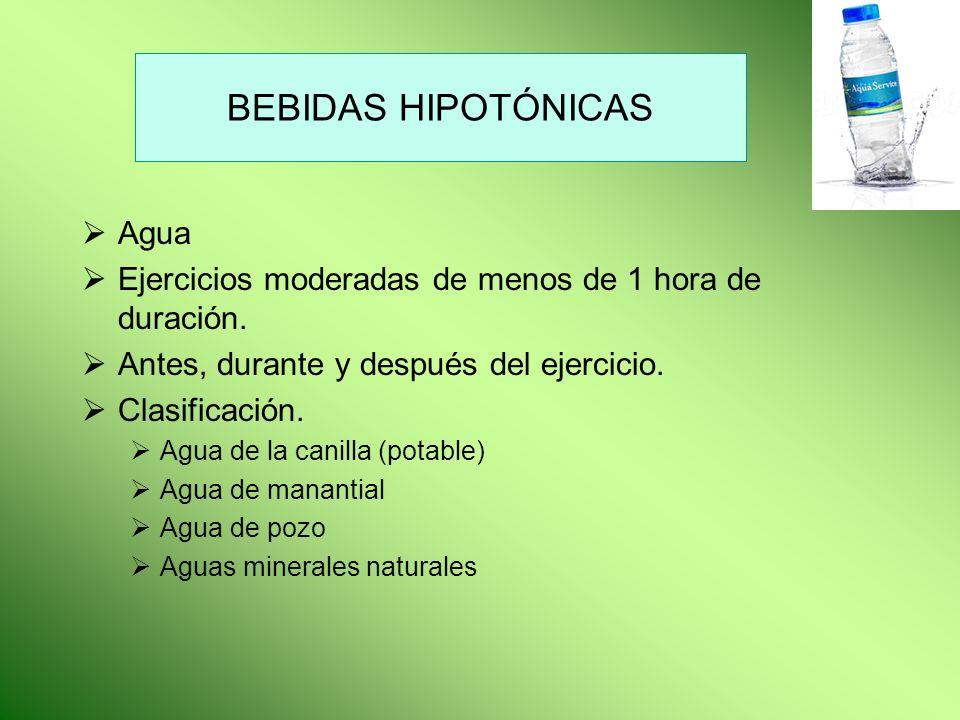 BEBIDAS HIPOTÓNICAS Agua Ejercicios moderadas de menos de 1 hora de duración. Antes, durante y después del ejercicio. Clasificación. Agua de la canill