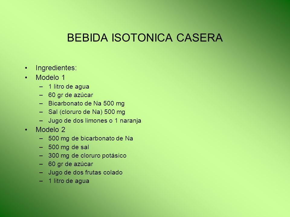 BEBIDA ISOTONICA CASERA Ingredientes: Modelo 1 –1 litro de agua –60 gr de azúcar –Bicarbonato de Na 500 mg –Sal (cloruro de Na) 500 mg –Jugo de dos li