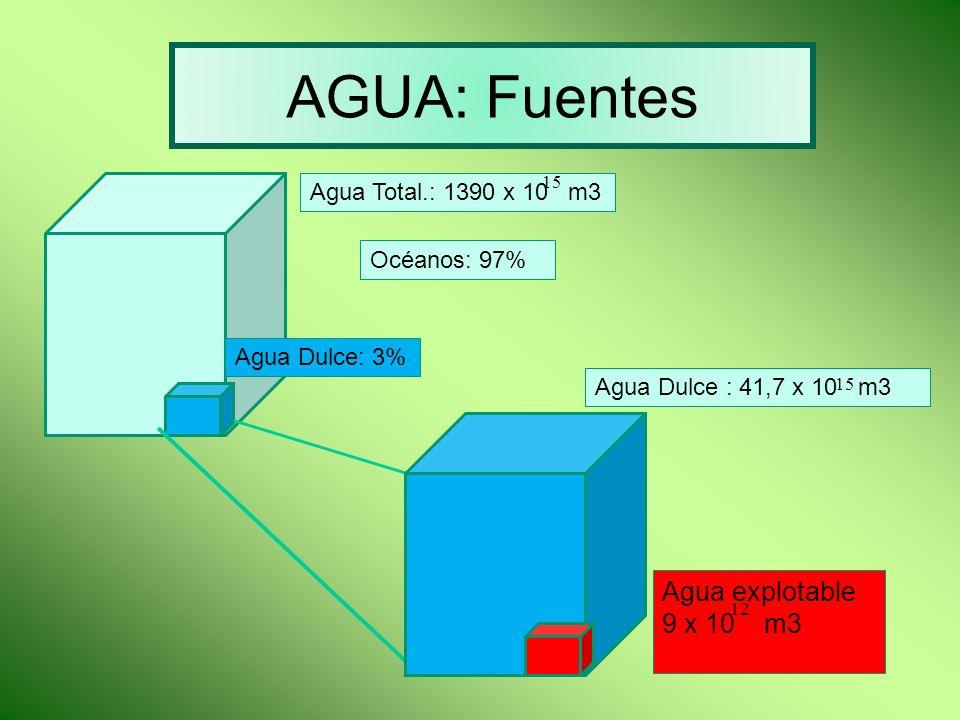 AGUA: Fuentes Agua Total.: 1390 x 10 m3 15 Océanos: 97% Agua Dulce: 3% Agua Dulce : 41,7 x 10 m3 Agua explotable 9 x 10 m3 12 15