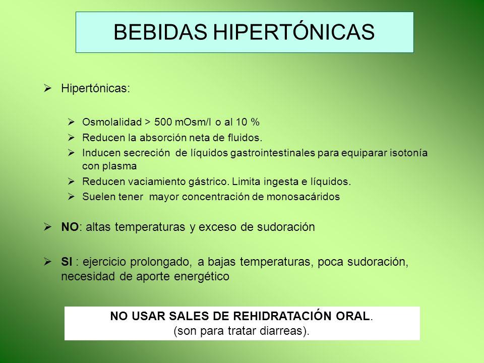 BEBIDAS HIPERTÓNICAS Hipertónicas: Osmolalidad > 500 mOsm/l o al 10 % Reducen la absorción neta de fluidos. Inducen secreción de líquidos gastrointest