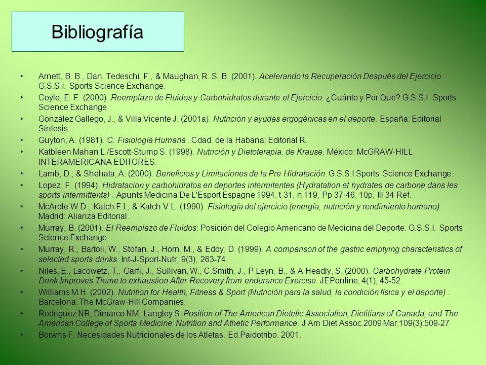 Bibliografía Arnett, B. B., Dan. Tedeschi, F., & Maughan, R. S. B. (2001). Acelerando la Recuperación Después del Ejercicio. G.S.S.I. Sports Science E
